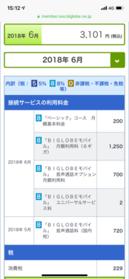 Biglobe月額料金の明細表示